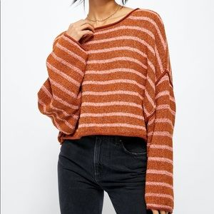 Free People Bardot Terry Sweater Textured Striped